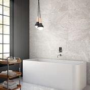 Positano Blanco as a Bathroom Wall backsplash and floor
