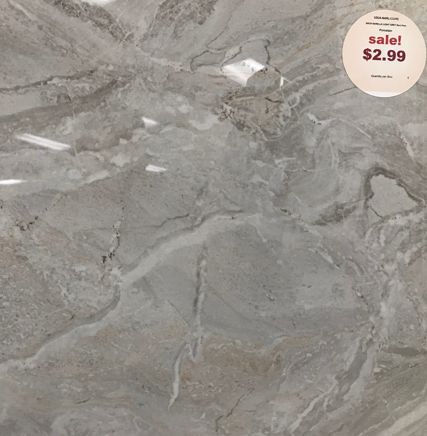 Polished, Rectified Porcelain 24″x24″ tile for just $2.99 retail